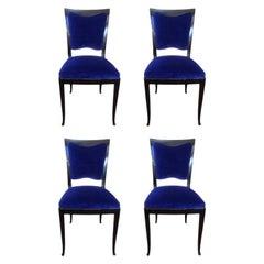Set of Four Original Art Deco Ebonized Wood Blue Velvet Black Dining Chair, 1930