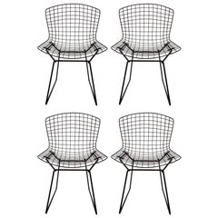 Set of Four Original Harry Bertoia for Knoll Black Wire Side Chairs, circa 1960