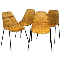 Set of Four Original Mid-Century Modern Gian Franco Legler Basket Chairs