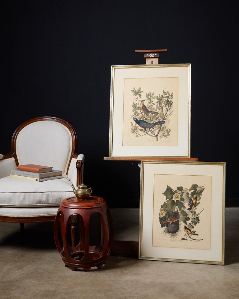 Interesting set of four ornithological prints or plates in the style of John James Audubon (1785-1851 American). Facsimiles at a reduced size, published in 1937 by Artistic Prints Publishing: lithograph and engraving with hand coloring. Featuring
