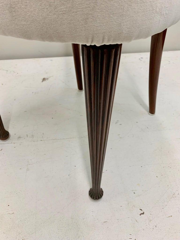 Set of Four Osvaldo Borsani Rosewood and Velvet Dining Chairs, 1950s Restored For Sale 7