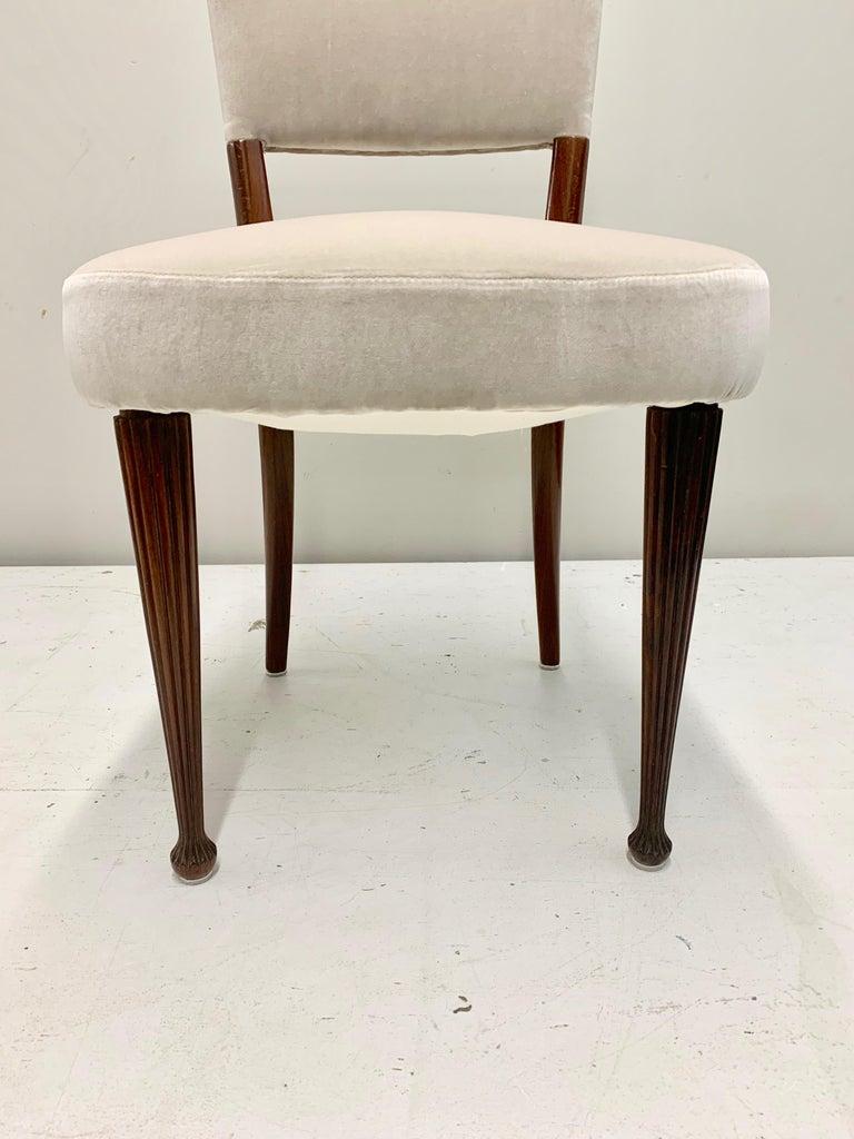 Set of Four Osvaldo Borsani Rosewood and Velvet Dining Chairs, 1950s Restored For Sale 8