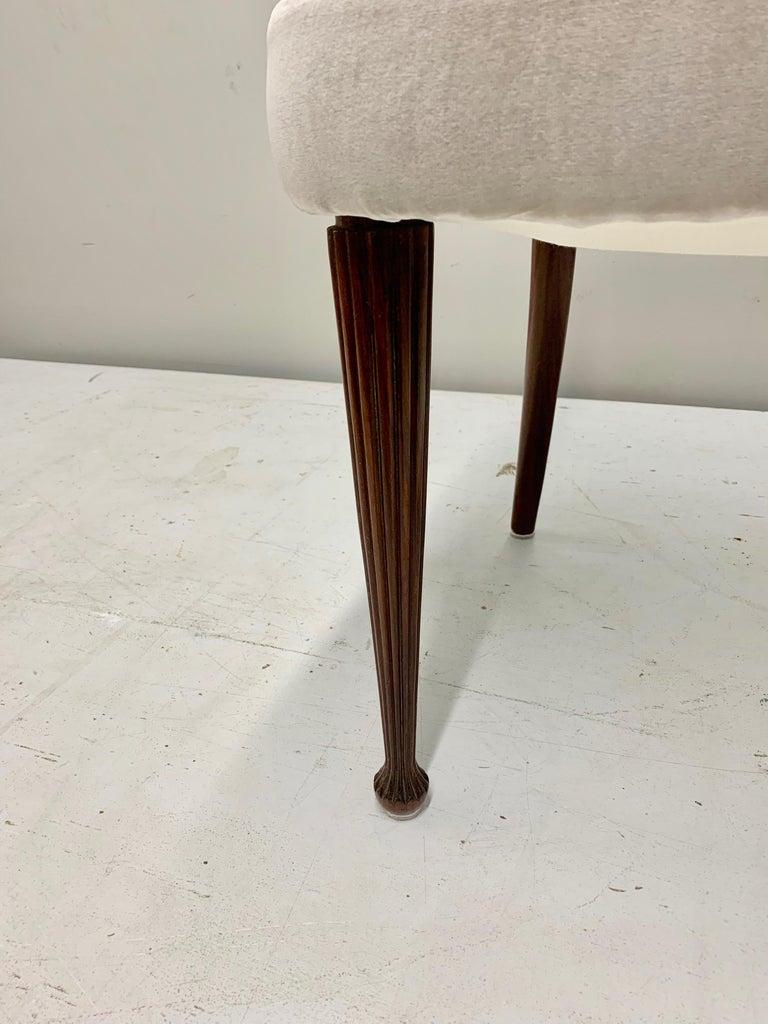 Set of Four Osvaldo Borsani Rosewood and Velvet Dining Chairs, 1950s Restored For Sale 9