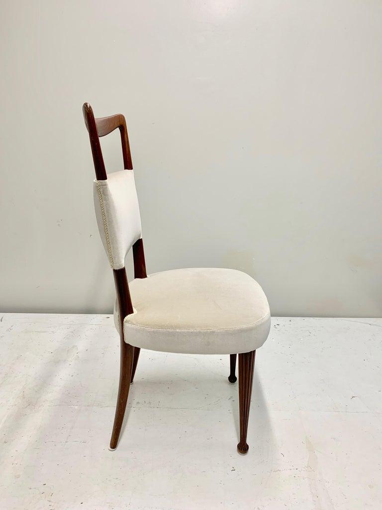 Set of Four Osvaldo Borsani Rosewood and Velvet Dining Chairs, 1950s Restored For Sale 2