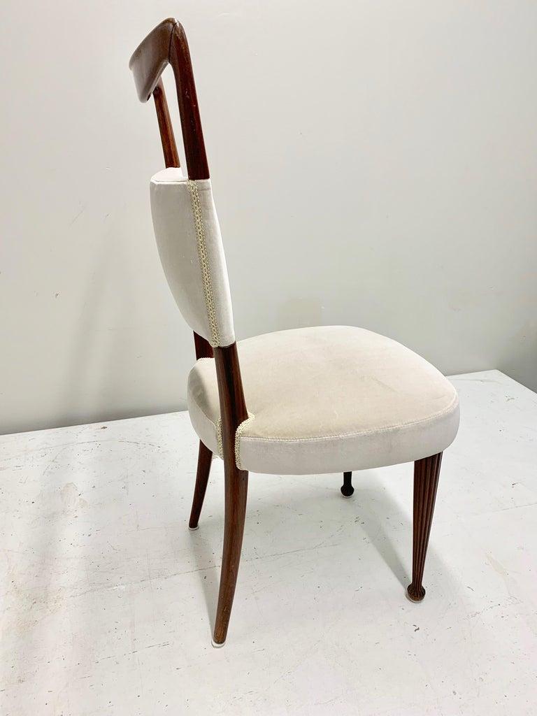 Set of Four Osvaldo Borsani Rosewood and Velvet Dining Chairs, 1950s Restored For Sale 3