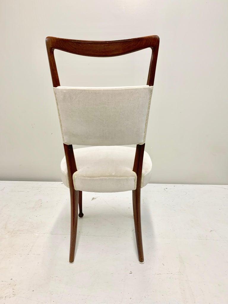 Set of Four Osvaldo Borsani Rosewood and Velvet Dining Chairs, 1950s Restored For Sale 4