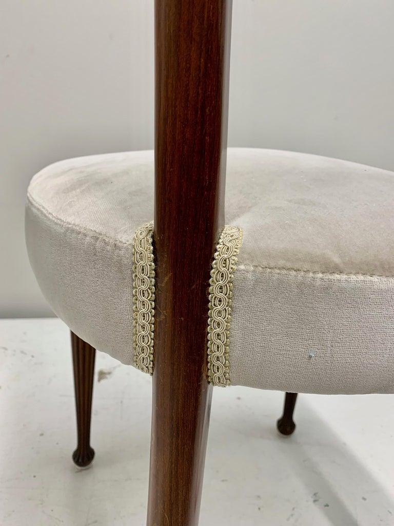Set of Four Osvaldo Borsani Rosewood and Velvet Dining Chairs, 1950s Restored For Sale 6