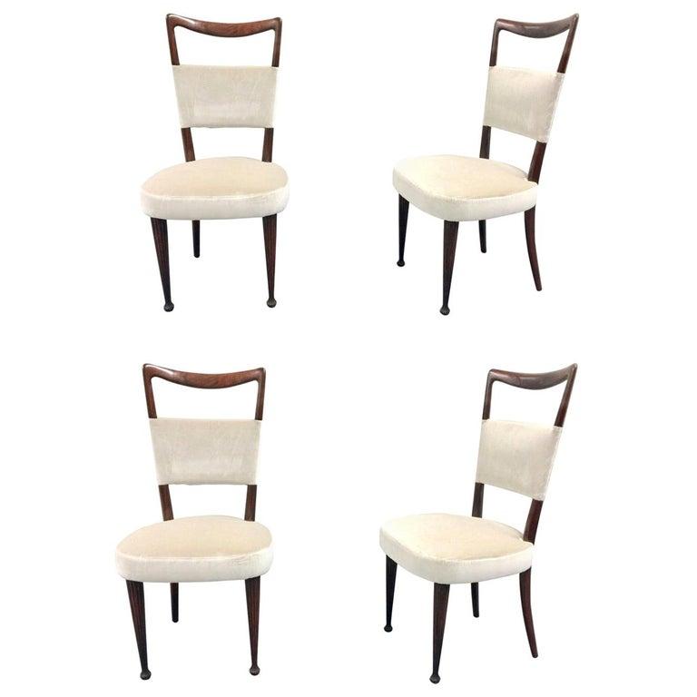 Set of Four Osvaldo Borsani Rosewood and Velvet Dining Chairs, 1950s Restored For Sale