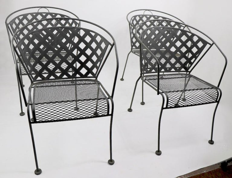 Set of Four Outdoor Chairs Attributed to Woodard 10