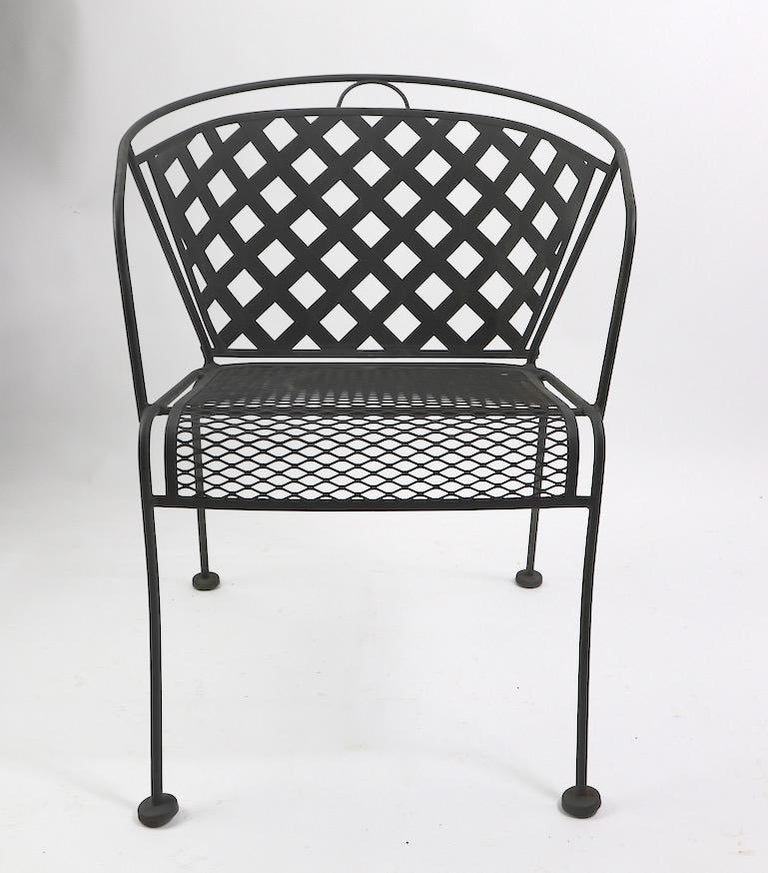 Mid-Century Modern Set of Four Outdoor Chairs Attributed to Woodard