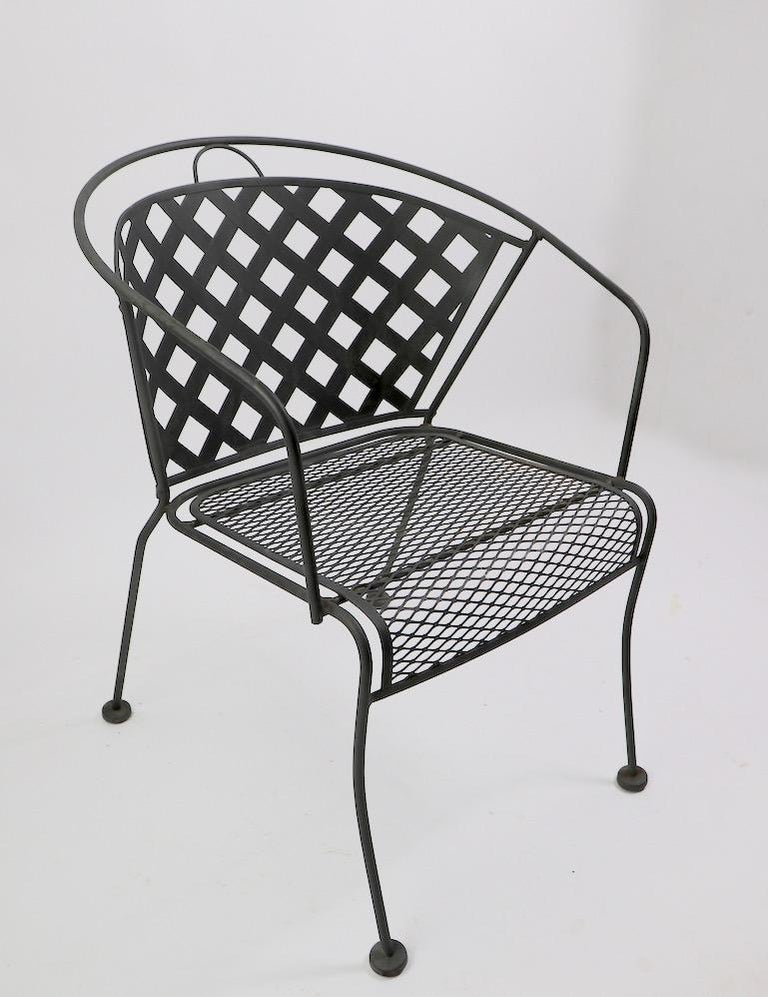 Metal Set of Four Outdoor Chairs Attributed to Woodard For Sale