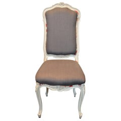 Set of Four Painted Dining Chairs, Hand Carved, Painted, Upholstered in Linen