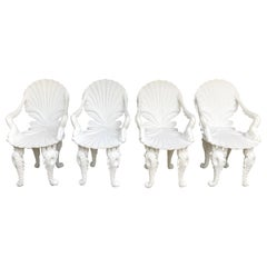 Pair of White Carved Wood Grotto Armchairs
