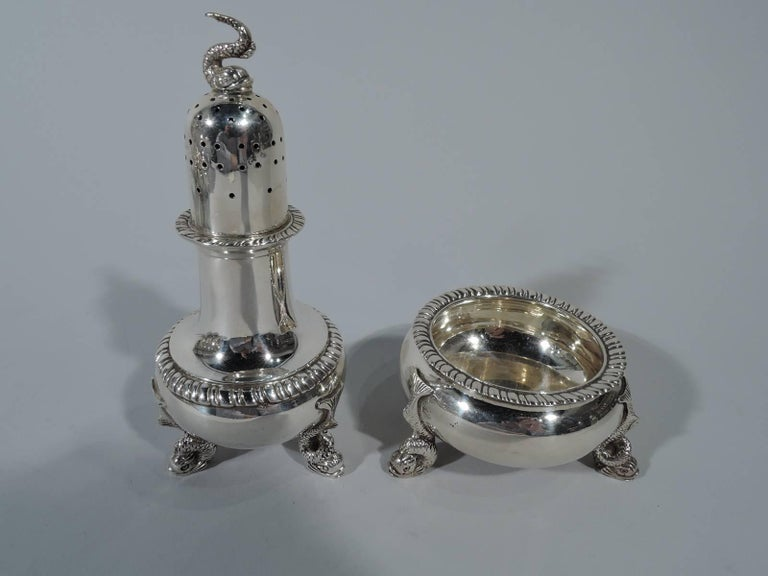 Neoclassical Revival Set of Four Pairs of Antique Neoclassical Sterling Silver Salts & Peppers For Sale