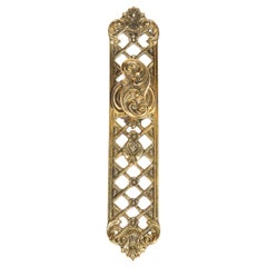 Set of Four Pairs of Gilt Brass Fretwork Door Handles