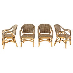 Set of Four Palecek Bamboo Rattan Dining Armchairs