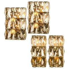 Set of Four Palwa Wall Light Fixtures, Chrome-Plated Crystal Glass, 1970