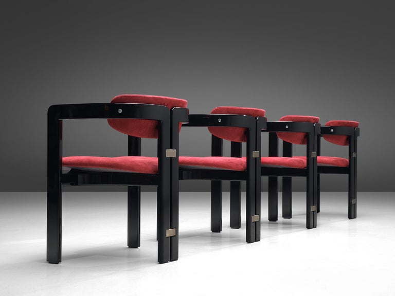 Augusto Savini, set of four 'Pamplona' dining room chairs, ebonized ashwood and red fabric, by for Pozzi, Italy, 1965.  Set of four armchairs in black lacquered ash and red suede inspired upholstery. A characteristic design; simplistic yet very