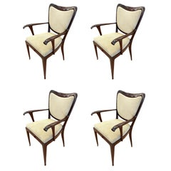 Set of Four Paolo Buffa Armchairs, Italy, 1940s