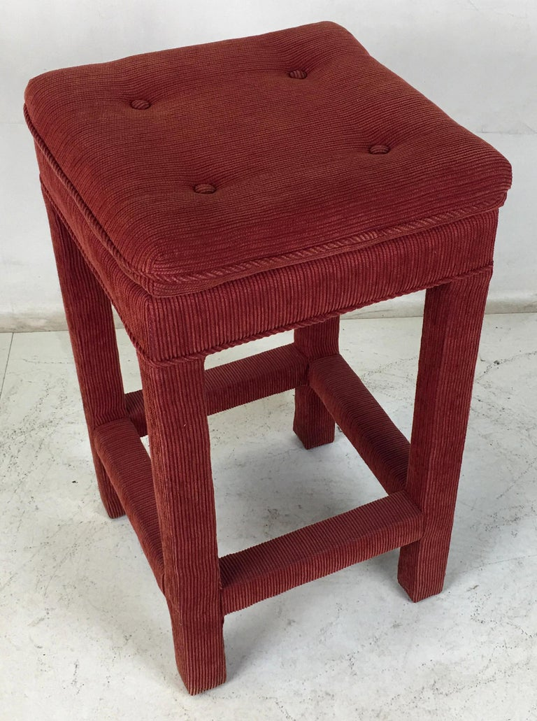 Set of Four Parsons style Bar Stools In Good Condition For Sale In San Leandro, CA