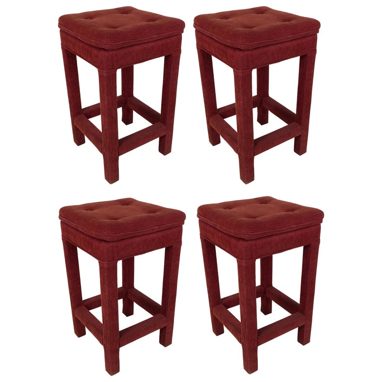 Set of Four Parsons style Bar Stools For Sale