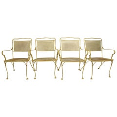Set of Four Patio Garden Dining Chairs Attributed to Woodard