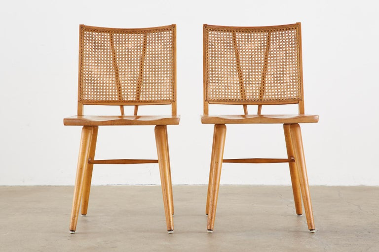 Cane Set of Four Paul McCobb Maple Dining Chairs