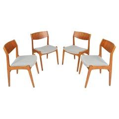 Set of Four P.E. Jørgensen Danish Modern Dining Chairs in Teak and Oak