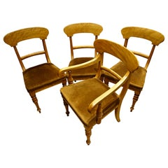 Set of Four Pearwood Chairs England with Horsehair Upholstery