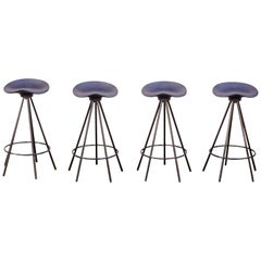 Set of Four Pepe Cortes Contemporary Jamaica Black Stool for BD Barcelona