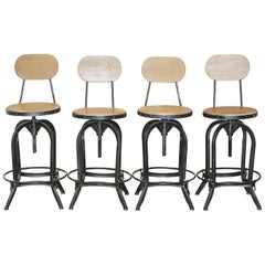 Set of Four Perfect Industrial Steel Revolving Height Adjustable Bar Stools