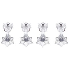Set of Four Petite Vintage Faceted Crystal Candleholders, 1970s