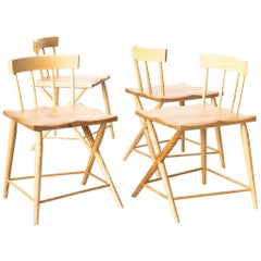 Set of Four Phinx Side / Occasional / Chairs in Ash Solids with Natural Finish