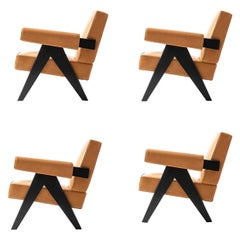 Set of Four Pierre Jeanneret 053 Capitol Complex Armchairs by Cassina