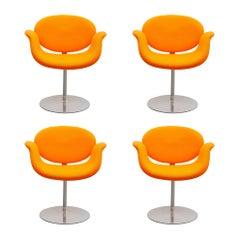 "Set of Three Pierre Paulin Orange ""Tulip"" Swivel Chairs for Artifort, 1980s"