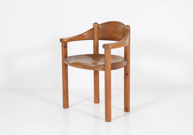 Wonderful set of four Mid-Century Modern armchairs by Rainer Daumiller for  Hirtshals Savvaerk Denmark, 1970s. Striking design in solid pine. In good original condition with minor wear consistent with age and use, preserving a beautiful