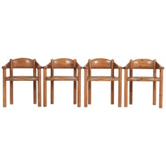 Set of Four Pine Mid-Century Modern Armchairs by Rainer Daumiller, 1970s