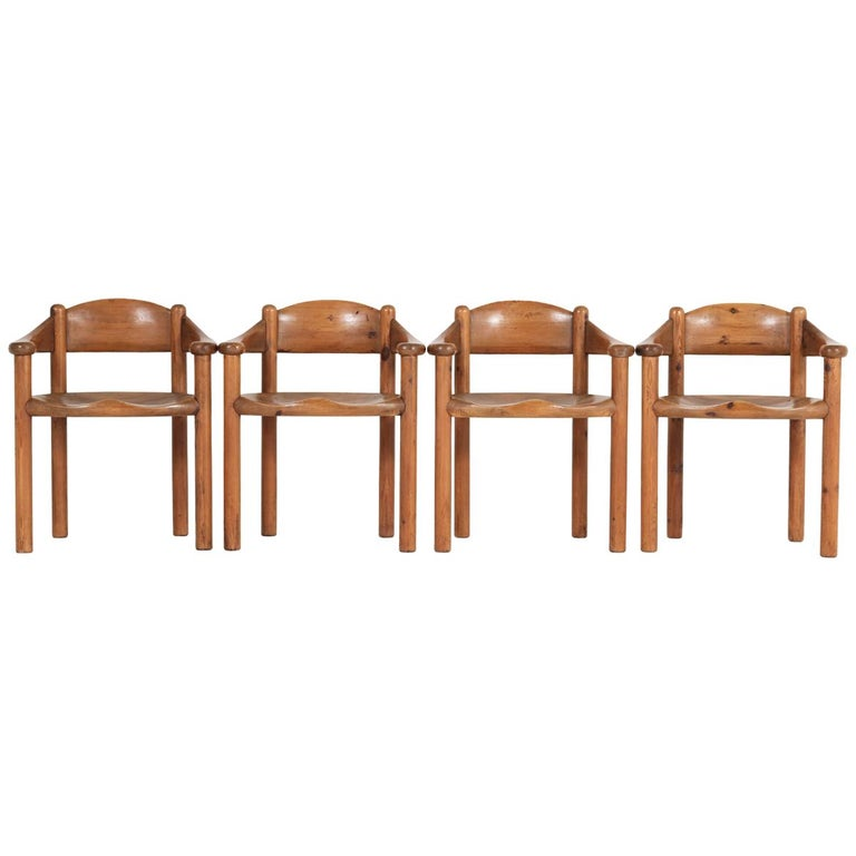 Set of Four Pine Mid-Century Modern Armchairs by Rainer Daumiller, 1970s For Sale