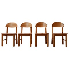 Set of Four Pine Midcentury Dining Chairs