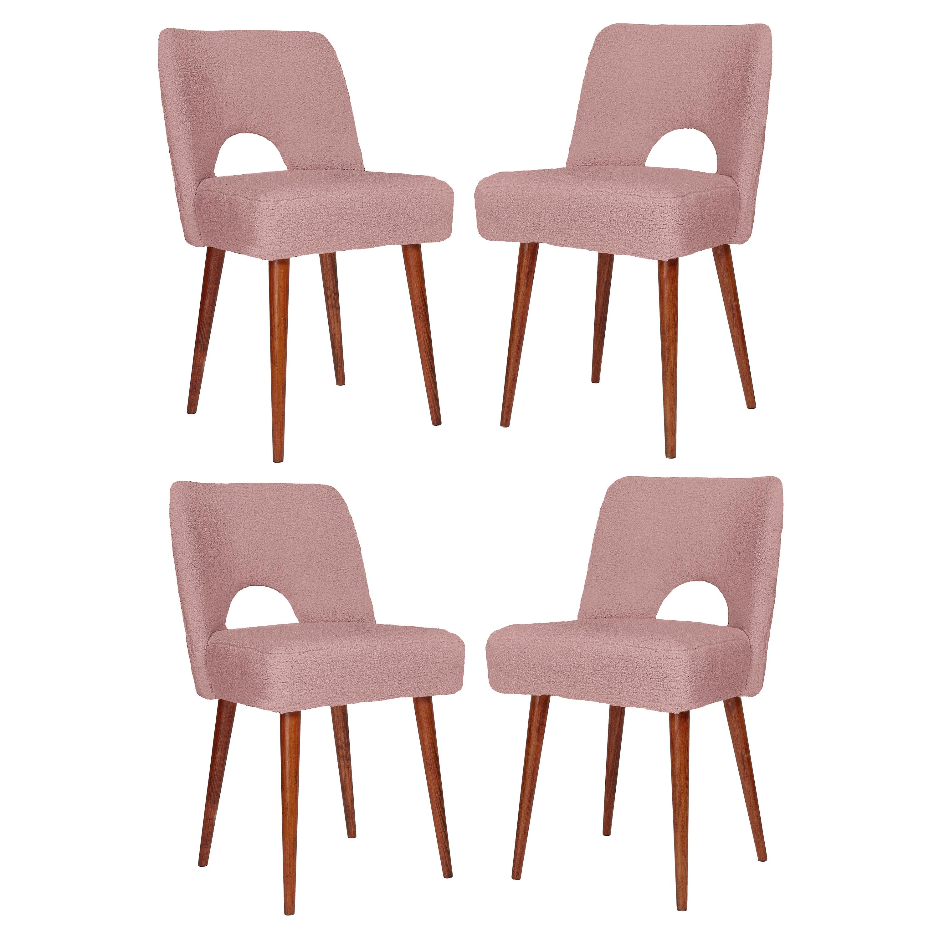 Set of Four Pink Boucle 'Shell' Chairs, 1960s
