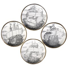 Set of Four Plates 'Velieri' by Piero Fornasetti, 1960s
