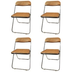 Set of Four Plia Cane and Walnut Chairs by Giancarlo Piretti for Castelli