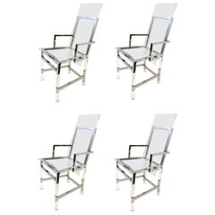 Set of Four Polish Nickel and Acrylic Dining Chairs by Charles Hollis Jones