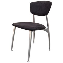 Set of Four Polished Aluminium and Suede Dining Chairs by Nambé