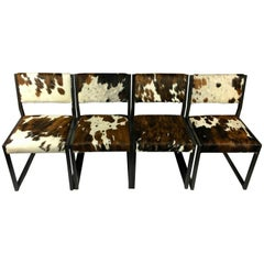 Set of Four Pony Skin Dining Chairs, Blackened Steel Frames by Uhuru Design