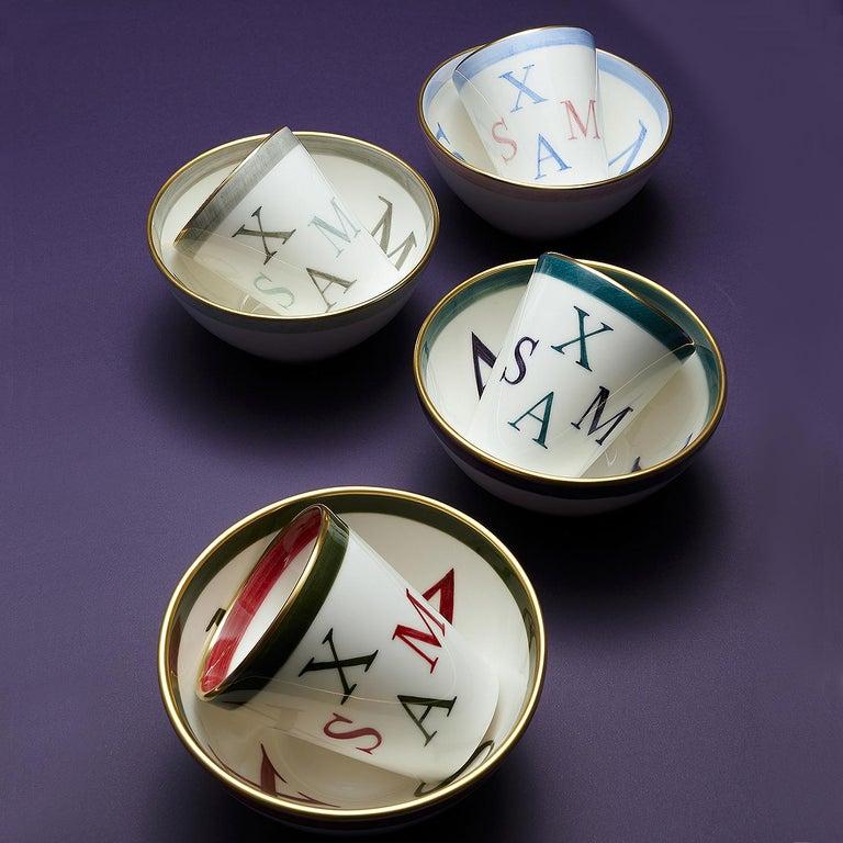 Contemporary Country Set of Four Porcelain Bowls Christmas Decor Sofina Boutique Kitzbuehel For Sale