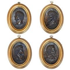 Set of Four Portrait Relief Plaques of Roman Emperors