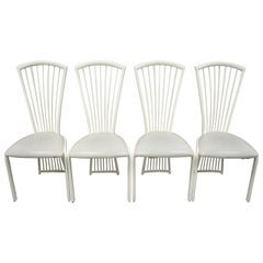 Set of Four Postmodern Art Deco Style Metal Fan Back Dining Chairs by Liberty