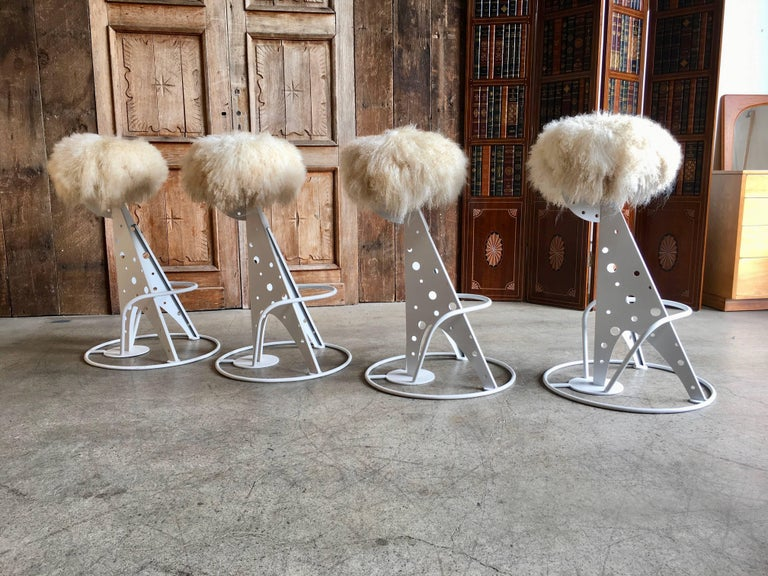 Set Of Four Post Modern Bar Stools For Sale At 1stdibs