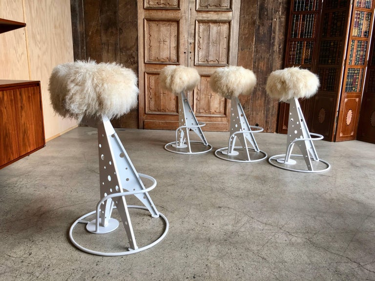 Set of Four Post Modern Bar Stools For Sale 2